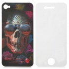 Protective 3D Skull Back Skin Case Sticker + Front Screen Protector Set for iPhone 4 / 4S