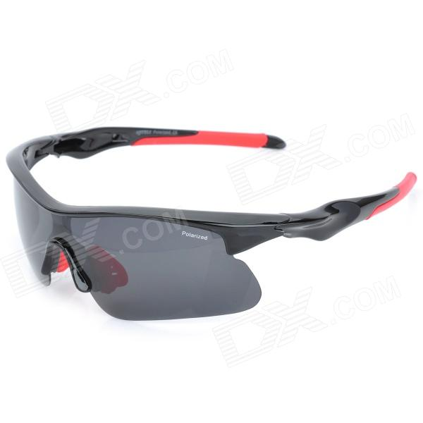 CARSHIRO 9356 Outdoor Windproof Polarized Resin Lens Sunglasses Goggle - Black + Red carshiro 9150 uv400 protection resin lens polarized night vision driving glasses