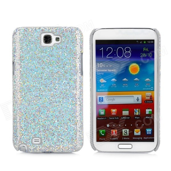 Protective Sequin Plastic Back Case for Samsung N7100 - Silver butterfly bling diamond case