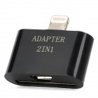2-in-1 Micro USB / 30-Pin Female to 8-Pin Lightning Male Adapter for iPhone 5 - Black