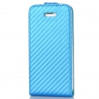 Protective Top Flip Open Twill PU Leather Case for Iphone 5 - Blue
