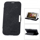 Fashion Cross Pattern Protective PU Leather Case for Samsung N7100 - Black