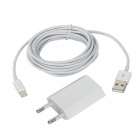 AC Power Charger + USB 8Pin Cable for iPhone 5 - White (EU Plug)
