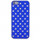 Rivets Studded Protective PC Back Case for Iphone 5 - Silver + Deep Blue