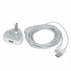 AC Power Adapter + USB to 8-Pin Lightning Cable for iPhone 5 - White (UK Plug / 3m)