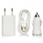 3-in-1 Lightning 8-Pin to USB Data Cable + EU Plug Power Adapter + Car Charger Set