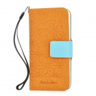 Diamond Pattern PU Leather Protective Case for Iphone 5 w/ Card Slot - Brown + Blue