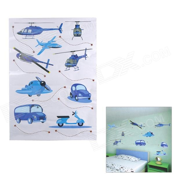 Easy Remove Planes & Cars Pattern Wall Paper Sticker - Blue + Black easy remove planes