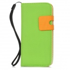 Lichee Pattern Protective PU Leather Flip Open Case for Iphone 5 - Green
