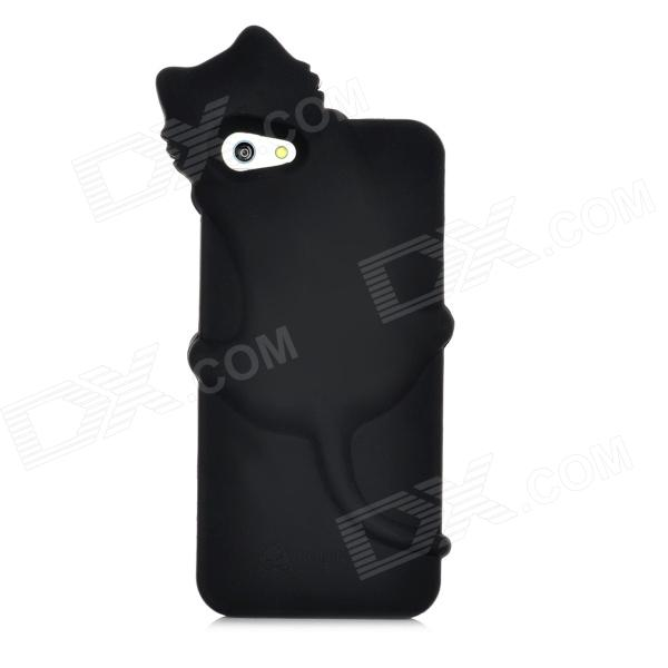 Cute PaPa Cat Style Protective Silicone Case for Iphone 5 - Black