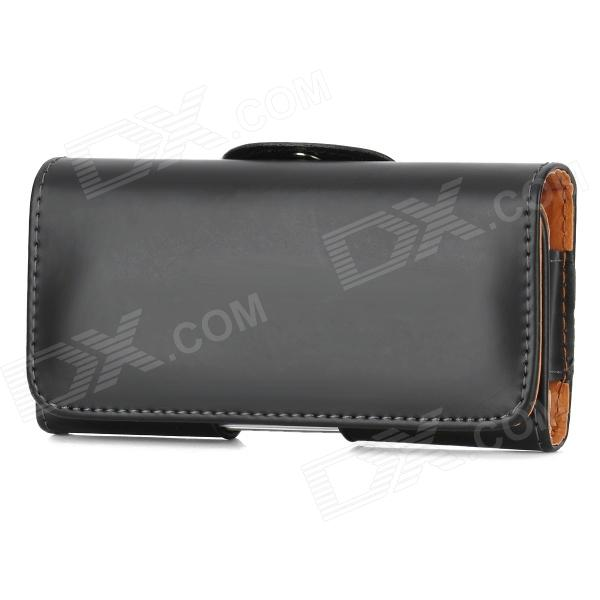 Protective PU Leather Waist Clip Style Case for Iphone 5 - Black