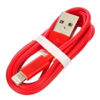 USB Male to 8Pin Lightning Male Charging & Data Cable for iPhone 5 - Red (100cm)