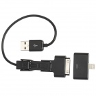USB to Micro USB / Mini USB / Apple 30pin / 8pin Lightning Adapter Cable - Black