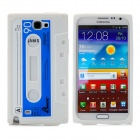 Classic Tape Style Protective Silicone Back Case for Samsung N7100 Note II - White + Blue