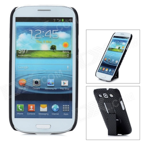 Protective Flip-Open ABS Case with Clip for Samsung Galaxy S3 9300 - Black 3 in 1 fish eye macro wide angle clip lens white black