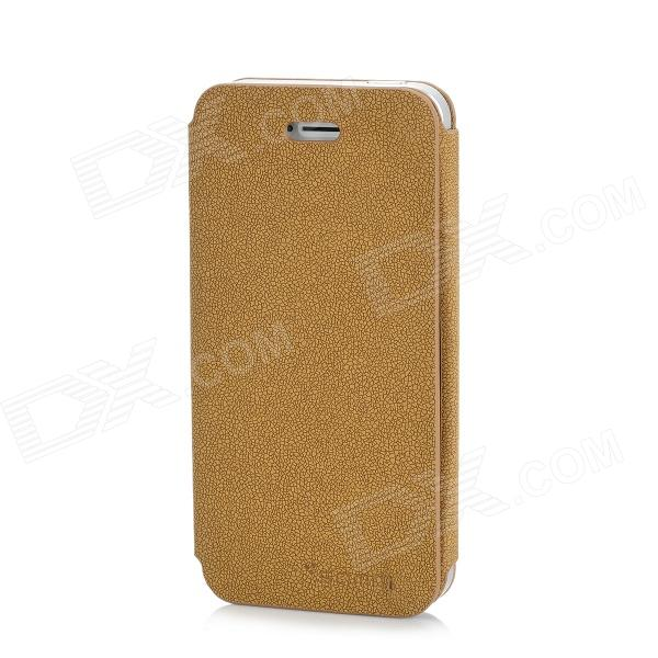 Stone Grain Pattern Protective PU Leather Flip-Open Case for Iphone 5 - Yellow Brown protective pu leather flip open case for iphone 5 brown