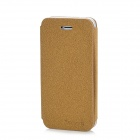 Stone Grain Pattern Protective PU Leather Flip-Open Case for Iphone 5 - Yellow Brown