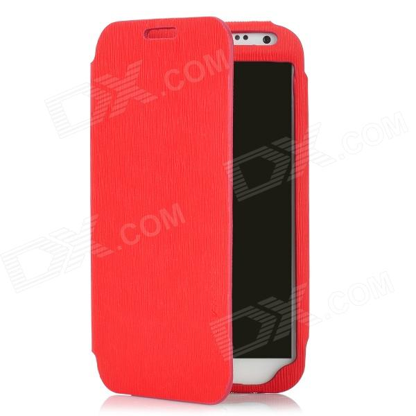 Protective PU Leather Case w/ Card Slot for Samsung Galaxy Note 2 N7100 - Red