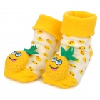 Cute Pineapple Shape Baby Anti-Slip Socks - Yellow + Green (1 Pair)