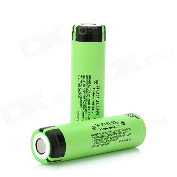 Panasonic NCR18650B Super Max 3.7V 3400mAh Rechargeable Li-ion Battery - Black + Green (2 Pieces) panasonic ncr18650b super max 3 7v 3400mah rechargeable li ion battery black green