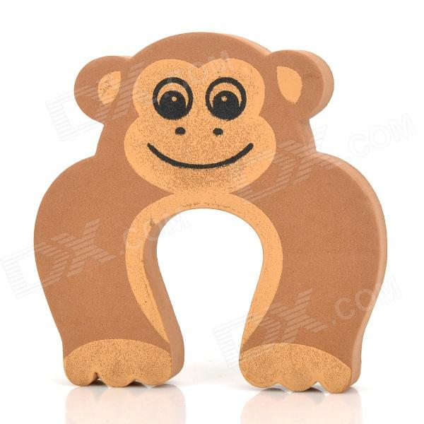 Cute Monkey Pattern Baby Safety Door Stopper Finger Pinch Guard - Brown