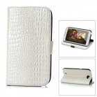 Crocodile Grain Style Protective PU Leather Case for Samsung Galaxy Note II N7100 - White