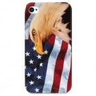 Flag of United States and Eagle Pattern Plastic Back Case for Iphone 4 / 4S - Multicolored
