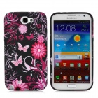 Butterfly Pattern Protective Silicone Back Case for Samsung Galaxy Note II N7100 - Multicolored