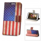 Worn Look USA National Flag Pattern Protective PU Leather Case for Samsung Galaxy Note 2 N7100