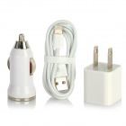AC Power + Car Charger Adapters + USB to 8-Pin Lightning Cable for iPhone 5 / iPad Mini - White