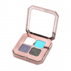 Portable Cosmetic Makeup 4-Color Shining Eye Shadow w/ Dual-Head Brush - White + Blue + More
