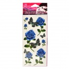 M086 Fashion Blue Rose + Schmetterling Muster Tattoo Papier-Aufkleber - Blau + Grün