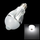 E27 4W 380lm 6500K IR Sensor Motion Activated White 8-SMD 5630 LED Light Bulb - White (85~265V)