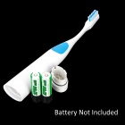 Ultrasonic Plastic Toothbrush w/ Replacement Head - White + Blue