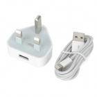 AC Power Adapter + USB to 8-Pin Lightning Cable for iPhone 5 - White (UK Plug / 90cm)