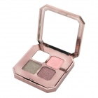 Portable Cosmetic Makeup 4-Color Shining Eye Shadow w/ Dual-Head Brush - White + Almond + More