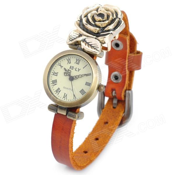 Rose Decorated PU Leather Band Analog Quartz Wrist Watch for Women - Brown women fashion watches rose gold rhinestone leather strap ladies watch analog quartz wristwatch clocks hour gift relogio feminino