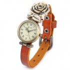 Rose Decorated PU Leather Band Analog Quartz Wrist Watch for Women - Brown