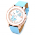 Y.B 803 PU Leather Band Analog Quartz Wrist Watch for Women - Blue (1 x 626)