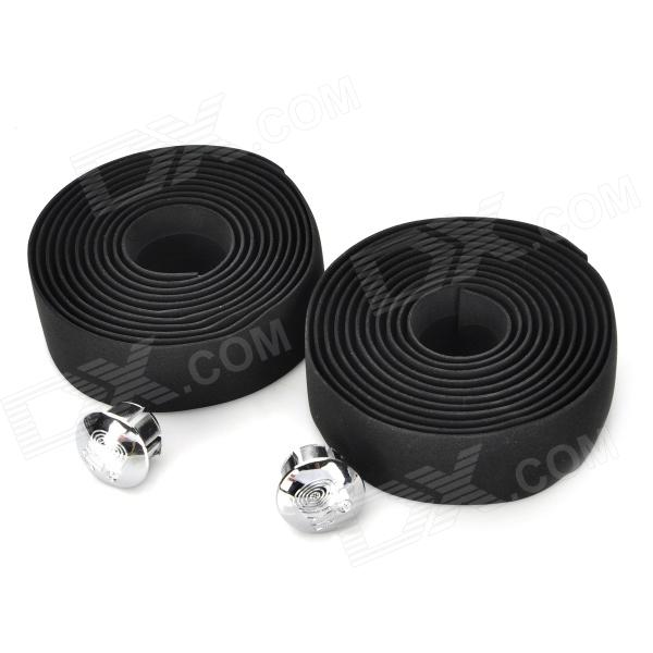 Cycling Bike Bicycle Handlebar Tape Belt Wrap w/ Bar Plugs - Black (2 PCS)
