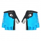Outdoor Cycling Riding Half Finger Gloves w/ Protective Pad - Blue + Black (Size-L / Pair)