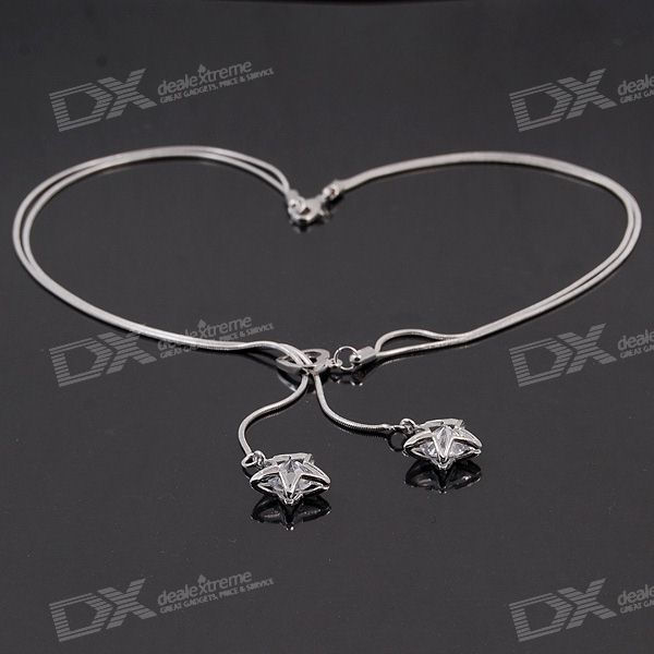 925 Silver Double Chained Necklace 2 Star Pendants with Stone Each 42-cm