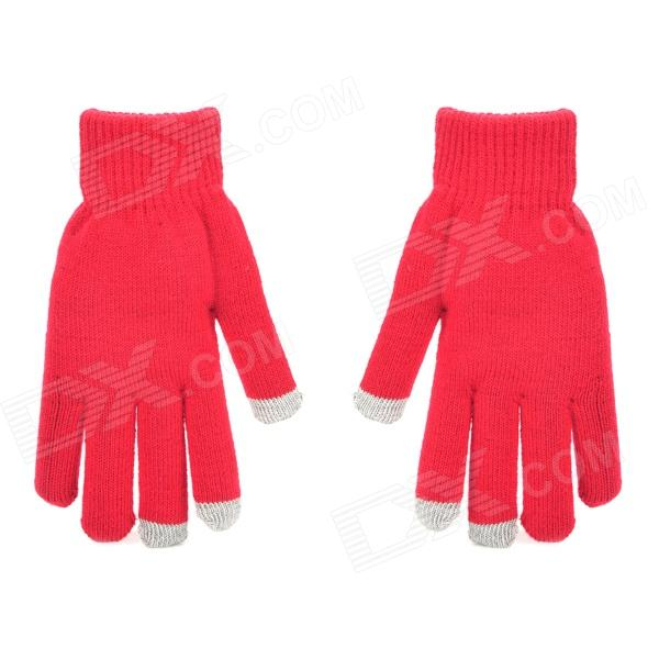 Capacitive Screen Touching Hands Warmer Gloves for Iphone / Ipad - Red (Pair)