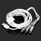 BASEUS CACOAV3-2 MFi 3-RCA Composite AV Cable for iPhone 4 / 4S / iPad 2 / New iPad - White (140cm)