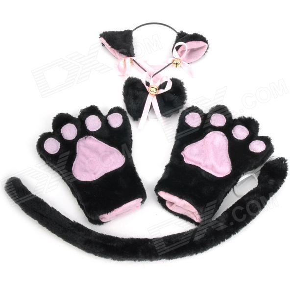 Sexy 4-in-1 Cat Palm Gloves + Hair Clip + Cat Tail + Butterfly Tie for Cosplay - Black + Pink