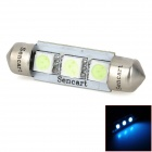 SENCART Festoon 39mm 0.9W 540nm 56lm 3-SMD 5050 LED Ice Blue Reading Lamp / License Plate Lamp (12V)