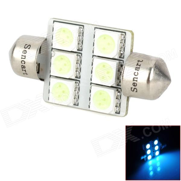 SENCART Festoon 36mm 1.2W 540nm 84lm 6-SMD 5050 LED Ice Blue Reading Lamp / License Plate Lamp (12V)