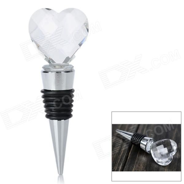 Love Heart Style Crystal Wine Bottle Stopper Plug - Transparent + Silver + Black champagne bottle stopper random color