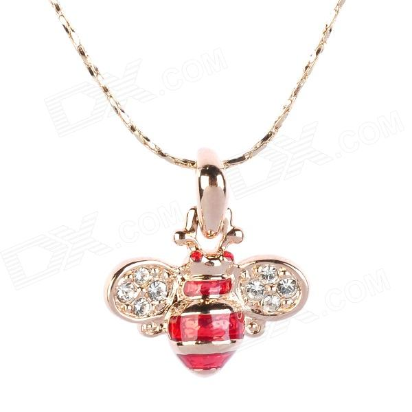 KCCHSTAR BK-4043 Bee Style 18K Alloy Plating Gold w/ Crystal Pendant Necklace for Women - Golden kcchstar 18k gold plating zinc alloy v necklace w artificial diamond pendant golden