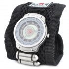 Stylish Nylon Velcro Belt Rotation Plate Quartz Wrist Watch - Black + Silver